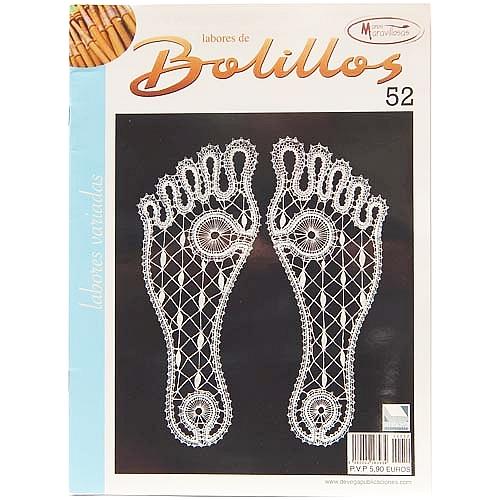 Labores de BOLILLOS 52, eine spanische Zeitschrift, Klöppelbriefe zu unterschiedlichen Themen, wie Torchon, Schals, Fächer, Taschen, Bänderspitze, usw. in der Klöppelwerkstatt erhältlich.