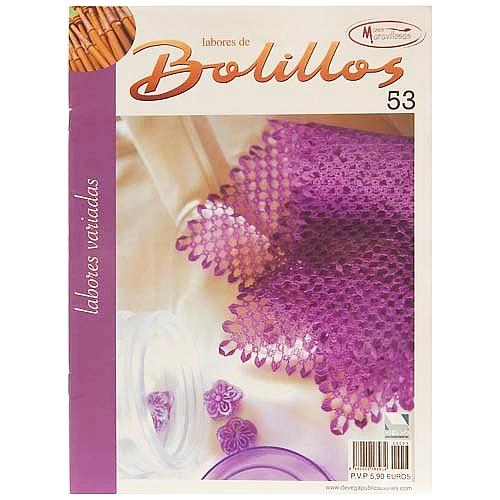 Labores de BOLILLOS 53, eine spanische Zeitschrift, Klöppelbriefe zu unterschiedlichen Themen, wie Torchon, Schals, Fächer, Taschen, Bänderspitze, usw. in der Klöppelwerkstatt erhältlich.