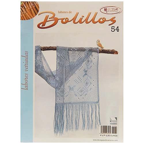 Labores de BOLILLOS 54, eine spanische Zeitschrift, Klöppelbriefe zu unterschiedlichen Themen, wie Torchon, Schals, Fächer, Taschen, Bänderspitze, usw. in der Klöppelwerkstatt erhältlich.