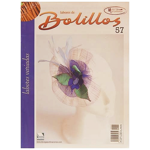 Labores de BOLILLOS 57, eine spanische Zeitschrift, Klöppelbriefe zu unterschiedlichen Themen, wie Torchon, Schals, Fächer, Taschen, Bänderspitze, usw. in der Klöppelwerkstatt erhältlich.
