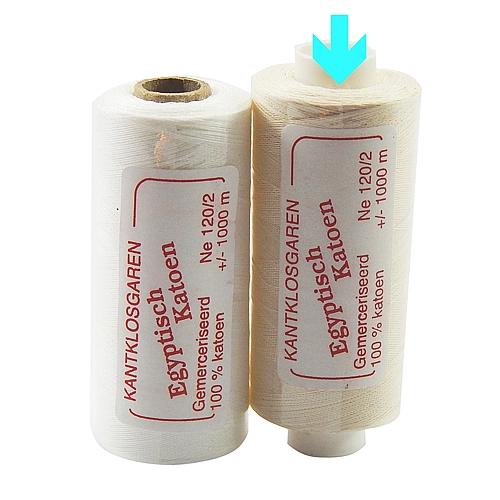 Egyptische Baumwolle Ne 120-2, 100% mercerisierte Baumwolle, in den Farben: optisch weiss und ecru, sehr gut zum klöppeln, häkeln, nähen, geeignet. Auch Ägyptische Baumwolle genannt, Garn, Markiert ist die Farbe ecru