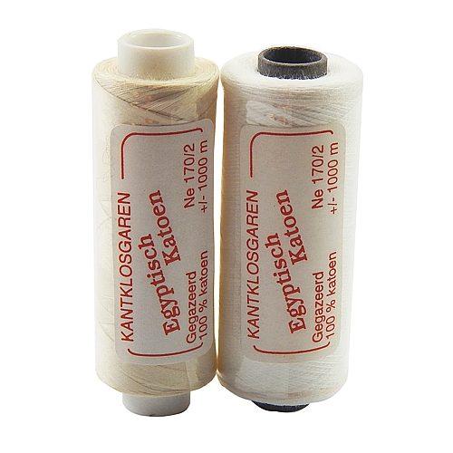 Egyptische Baumwolle Ne 170-2, 100% mercerisierte Baumwolle, in den Farben: optisch weiss und ecru, sehr gut zum klöppeln, häkeln, nähen, geeignet. Auch Ägyptische Baumwolle genannt, Garn