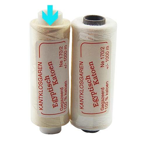 Egyptische Baumwolle Ne 170-2, 100% mercerisierte Baumwolle, in den Farben: optisch weiss und ecru, sehr gut zum klöppeln, häkeln, nähen, geeignet. Auch Ägyptische Baumwolle genannt, Garn, markiert ist die Farbe ecru