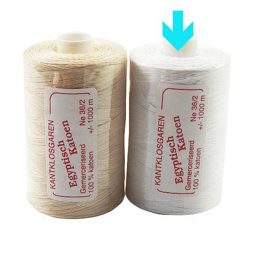 2 Rollen Egyptische Baumwolle Ne 36-2 markert ist die Farbe opt. weiss