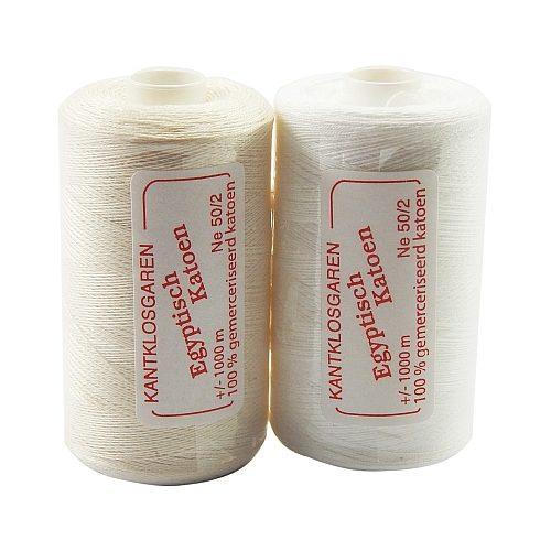 Egyptische Baumwolle Ne 50-2, 100% mercerisierte Baumwolle, in den Farben: optisch weiss und ecru, sehr gut zum klöppeln, häkeln, nähen, geeignet. Auch Ägyptische Baumwolle genannt