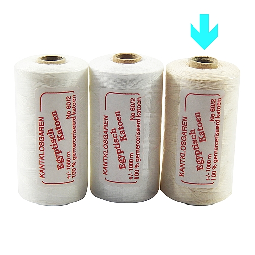 3 Rollen Egyptische Baumwolle Ne 60-2 markiert ist die Farbe ecru