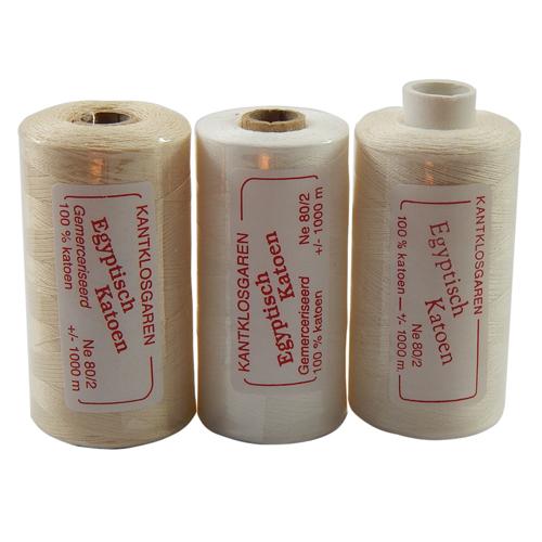 Egyptische Baumwolle Ne 80-2, 100% mercerisierte Baumwolle, in den Farben: optisch weiss und ecru, sehr gut zum klöppeln, häkeln, nähen, geeignet. Auch Ägyptische Baumwolle genannt, Garn,