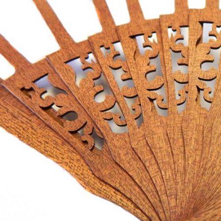 Fächer BS-AB12L und Brief Torchonfächer,1 Fächergestell BS-AB12L in der Holzart Mahagonie Form Ornament