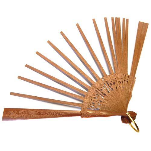 1 Fächer Holzart Dante, Foto zum Artikel: Fächer Modell Malaga und Brief Tüllfächer
