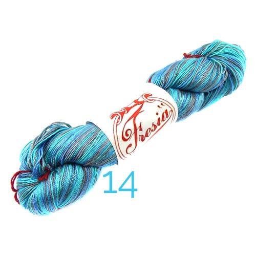 Fresia Seide, 100 % Seide, zum klöpeln, stricken und häkeln in der Farbe 14, hellgrau, wassergrün-lila-blau