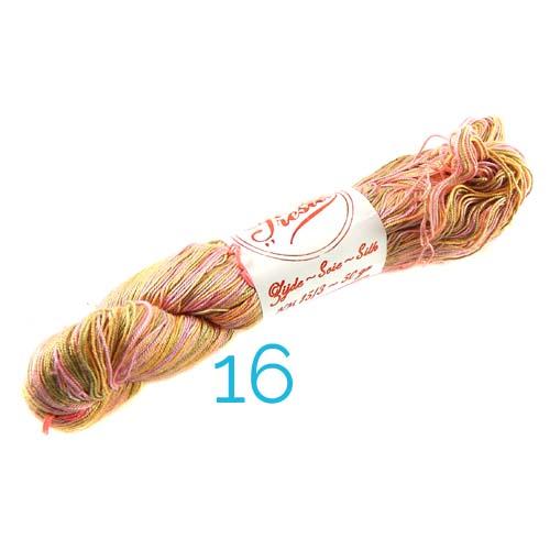 Fresia Seide, 100 % Seide, zum klöpeln, stricken und häkeln in der Farbe 16 rose-grün-orange