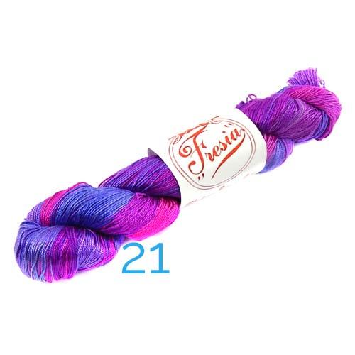 Fresia Seide, 100 % Seide, zum klöpeln, stricken und häkeln in der Farbe 21 malve,dunkel fuchsia