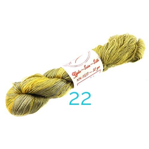 Fresia Seide, 100 % Seide, zum klöpeln, stricken und häkeln in der Farbe 22 moosgrün-gelb