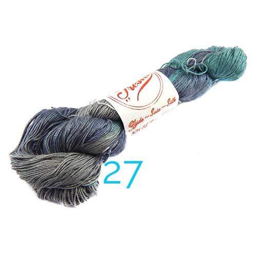 Fresia Seide, 100 % Seide, zum klöpeln, stricken und häkeln in der Farbe 27 blau-grün, grau