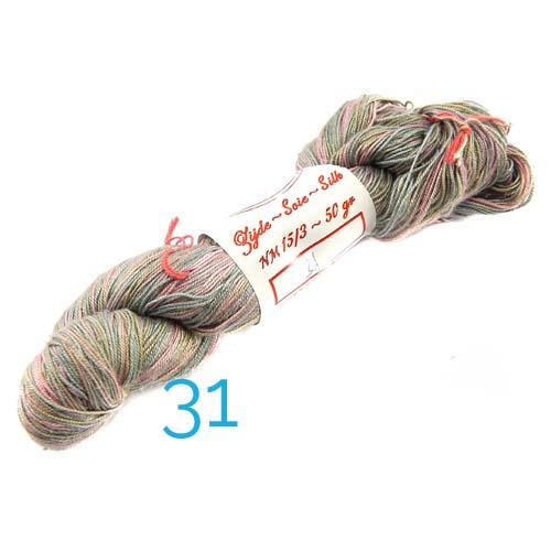 Fresia Seide, 100 % Seide, zum klöpeln, stricken und häkeln in der Farbe 31 grau-rose-kaki