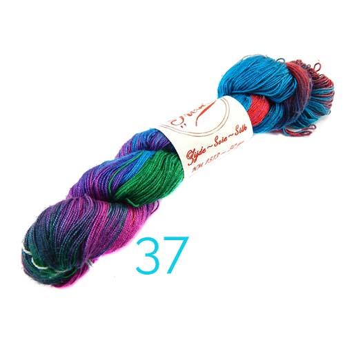 Fresia Seide, 100 % Seide, zum klöpeln, stricken und häkeln in der Farbe 37 grün-türkis,rot-lila
