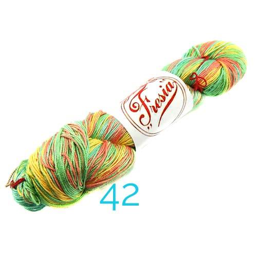 Fresia Seide, 100 % Seide, zum klöpeln, stricken und häkeln in der Farbe 42 gelb, hellgrün, zalm