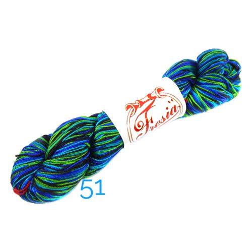 Fresia Seide, 100 % Seide, zum klöpeln, stricken und häkeln in der Farbe 51 grün-blau-schwarz
