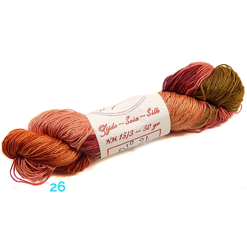 Fresia Seide, in der Farbe 26, handgefärbt, uni und multicolor, 100 % Seide, das Seidengarn ist in der Klöppelwerkstatt erhältlich und sehr gut zum Klöppeln, Stricken und auch zum Häkeln geeignet.