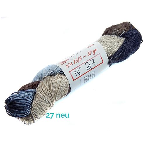 Fresia Seide, in der Farbe 27neu, handgefärbt, uni und multicolor, 100 % Seide, das Seidengarn ist in der Klöppelwerkstatt erhältlich und sehr gut zum Klöppeln, Stricken und auch zum Häkeln geeignet.