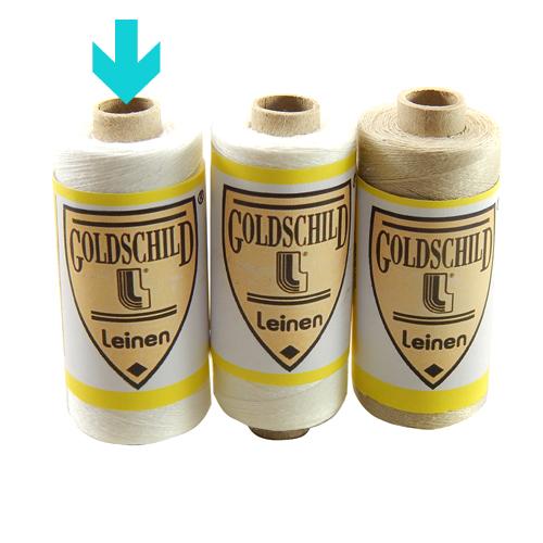 Goldschild Leinengarn Nel 100/3, in weiß, Handarbeitsgarn aus 100 % Leinen, Flach, gesponnen. Zum Klöppeln, Häkeln, sticken, Modellbau und Buchbinden bestens geeignet, in der Klöppelwerkstatt erhältlich.