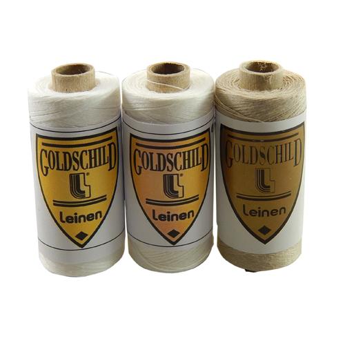 Goldschild Leinengarn Nel 80/3, Handarbeitsgarn aus 100 % Leinen, Flach, gesponnen. Zum Klöppeln, Häkeln, sticken, Modellbau und Buchbinden bestens geeignet, in der Klöppelwerkstatt erhältlich.
