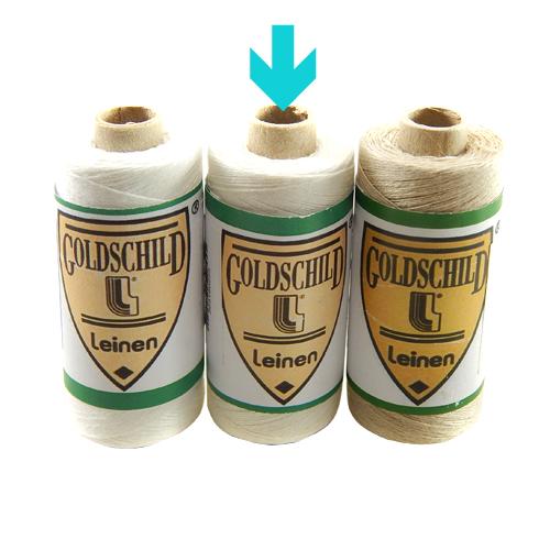 Goldschild Leinengarn Nel 50/3 in halbgebleicht, Handarbeitsgarn aus 100 % Leinen, Flach, gesponnen. Zum Klöppeln, Häkeln, sticken, Modellbau und Buchbinden bestens geeignet, in der Klöppelwerkstatt erhältlich.