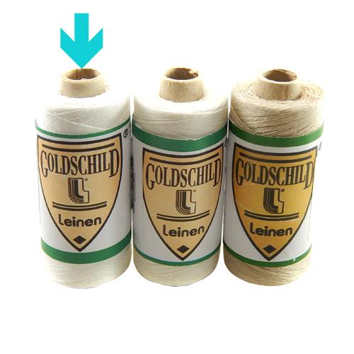 Goldschild Leinengarn Nel 50/3 in weiß, Handarbeitsgarn aus 100 % Leinen, Flach, gesponnen. Zum Klöppeln, Häkeln, sticken, Modellbau und Buchbinden bestens geeignet, in der Klöppelwerkstatt erhältlich.