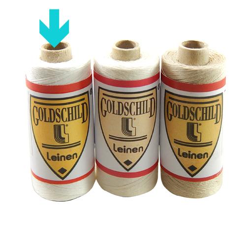 Goldschild Leinengarn Nel 66/3 in weiß, Handarbeitsgarn aus 100 % Leinen, Flach, gesponnen. Zum Klöppeln, Häkeln, sticken, Modellbau und Buchbinden bestens geeignet, in der Klöppelwerkstatt erhältlich.