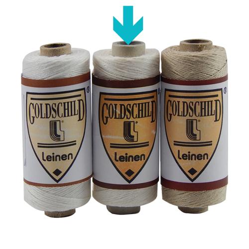 Goldschild Leinengarn Nel 18/3 Handarbeitsgarn aus 100 % Leinen, Flach, gesponnen. Zum Klöppeln, Häkeln, sticken, Modellbau und Buchbinden bestens geeignet, in halbgebleicht, in der Klöppelwerkstatt.