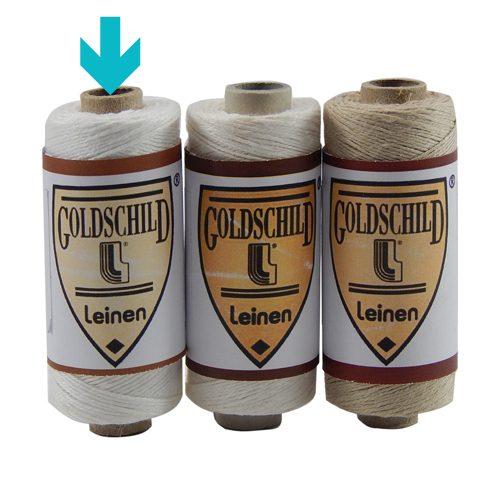 Goldschild Leinengarn Nel 18/3 Handarbeitsgarn aus 100 % Leinen, Flach, gesponnen. Zum Klöppeln, Häkeln, sticken, Modellbau und Buchbinden bestens geeignet, in weiß, in der Klöppelwerkstatt.
