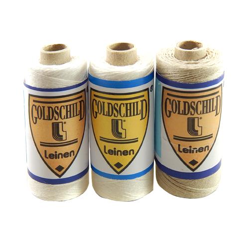 Goldschild Leinengarn Nel 30/3 Handarbeitsgarn aus 100 % Leinen, Flach, gesponnen. Zum Klöppeln, Häkeln, sticken, Modellbau und Buchbinden bestens geeignet, in der Klöppelwerkstatt erhältlich.
