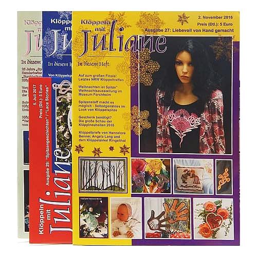 Klöppeln mit Juliane verschiedene Ausgaben, in der Klöppelwerkstatt, Klöppeln, Erzgebirgische Zeitschrift