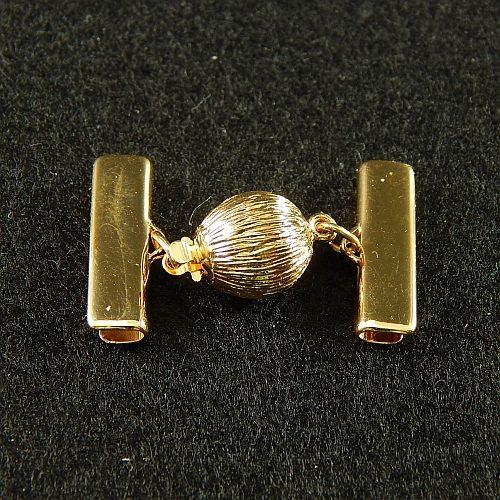 1 Kugelschliesse 14380 mit Klemme zum festklemmen der Spitze. Nur in der Klöppelwerkstatt erhältlich, vergoldet, 2 cm