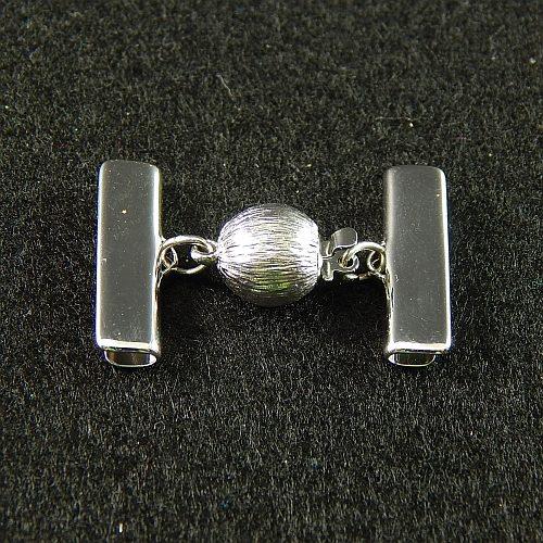 1 Kugelschließe 14585 mit Klemme zum festklemmen der Spitze. Nur in der Klöppelwerkstatt erhältlich, rhodiniert 20mm