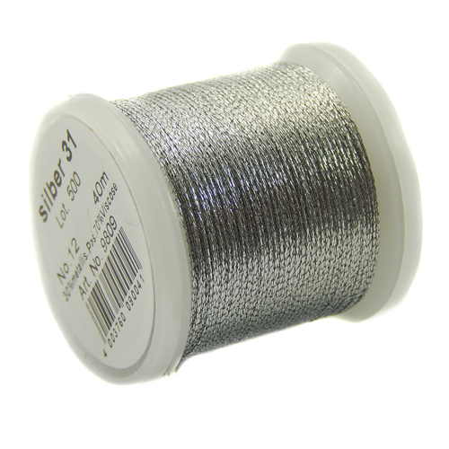 Madeira Metallic No 12 - Klöppelwerkstatt, ist ein 3-fach, teilbares Metalleffektgarn, gut geeignet zum Klöppeln, sticken, Hand-Quilten, Maschinensticken in der Farbe silber 31