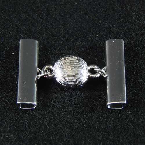 1 Magnetverschluss mit Klemme 14282 zum festklemmen der Spitze. Nur in der Klöppelwerkstatt erhältlich, rhodiniert 25mm