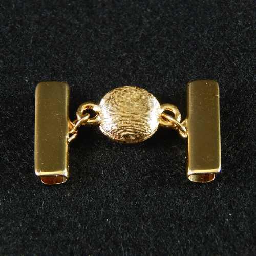 1 Magnetverschluss mit Klemme 14282 zum festklemmen der Spitze. Nur in der Klöppelwerkstatt erhältlich, vergoldet 20mm