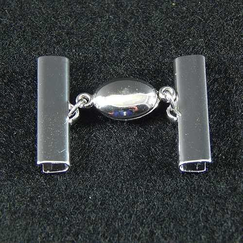 1 Magnetverschluss mit Klemme 14723 zum festklemmen der Spitze. Nur in der Klöppelwerkstatt erhältlich, rhodiniert 25mm
