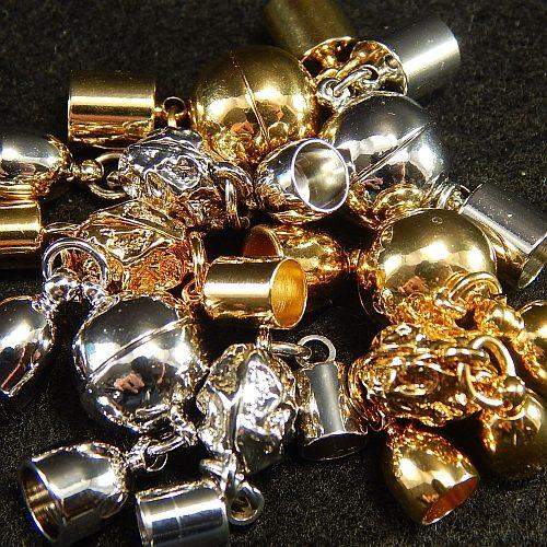 Magnetverschluss mit Endkappe 5 und 6 mm vergoldet und rhodiniert