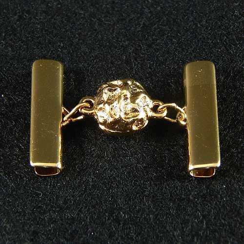 1 Magnetverschluss mit Klemme 14521 zum festklemmen der Spitze. Nur in der Klöppelwerkstatt erhältlich, vergoldet 25 mm