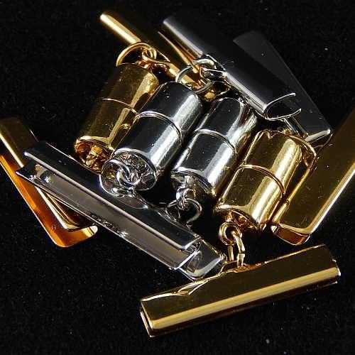 Magnetverschluss mit Klemme 14637 zum festklemmen der Spitze. Nur in der Klöppelwerkstatt erhältlich, rhodiniert, vergoldet, 25 mm, 20mm