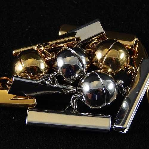 Magnetverschluss mit Klemme 14757 zum festklemmen der Spitze. Nur in der Klöppelwerkstatt erhältlich, rhodiniert und vergoldet, 20mm, 25 mm