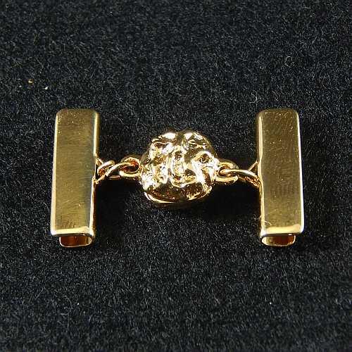 1 Magnetverschluss mit Klemme 14521 zum festklemmen der Spitze. Nur in der Klöppelwerkstatt erhältlich, vergoldet 20 mm