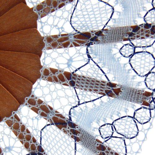 Puppenfächer Modell Murcia,Geklöppelter Fächer, Detail, zum Artikel