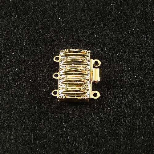 Verschlüsse zum Annähen, goldfarbig, 3 Ösen breite Form für Armbänder, geklöppelt, gehäkelt, erhältlich in der Klöppelwerkstatt