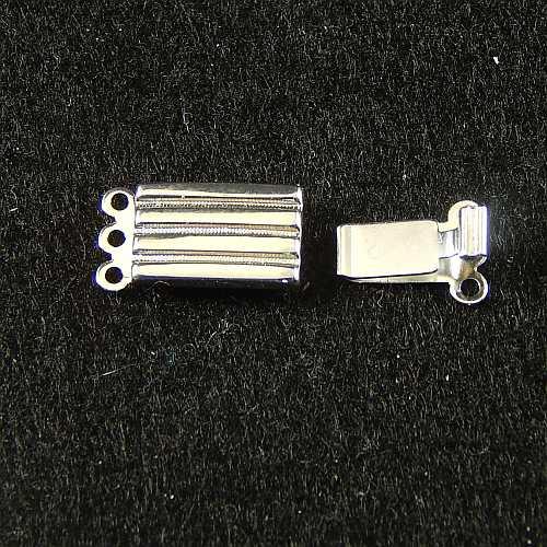 Verschlüsse zum Annähen, silberfarbig, 3 Ösen breite Form für Armbänder, geklöppelt, gehäkelt, erhältlich in der Klöppelwerkstatt