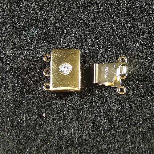Verschlüsse zum Annähen, goldfarbig mit Straßstein, 3 Ösen breite Form für Armbänder, geklöppelt, gehäkelt, erhältlich in der Klöppelwerkstatt