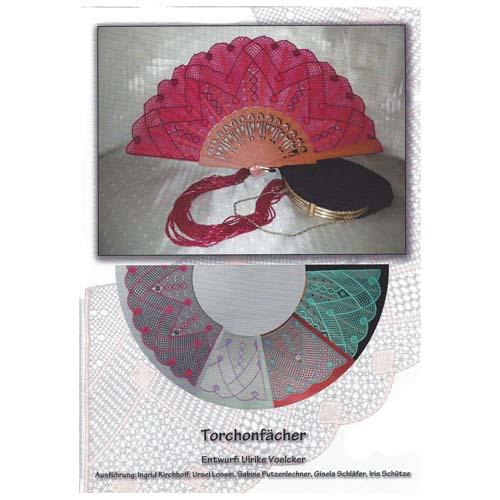 Fächer Modell Madrid und Brief Torchonfächer, Deckblatt vom Klöppelbrief, in der Klöppelwerkstatt erhältlich