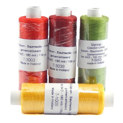Venne Colcoton 113 Farben, Klöppelwerkstatt, 100% mercerisierte (BIO) Baumwolle zum klöppeln, stricken, weben, häkeln. Minispule mit 180 m